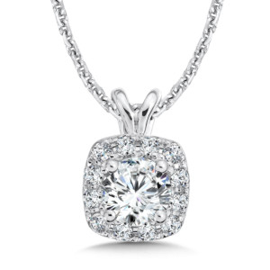 Caro74 Diamond Cushion Halo Pendant with Split Bale in 14K White Gold (1/2ct. tw.) (HCFP415WJ)
