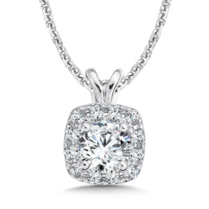 Caro74 Diamond Cushion Halo Pendant with Split Bale in 14K White Gold (1/2ct. tw.) (HCFP415WCTJ)