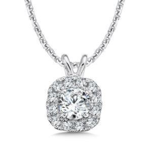 Caro74 Diamond Cushion Halo Pendant with Split Bale in 14K White Gold (1/4ct. tw.) (HCFP431WCTJ)