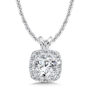 Caro74 Diamond Cushion Halo Pendant with Split Bale in 14K White Gold (1/3ct. tw.) (HCFP432WJ)