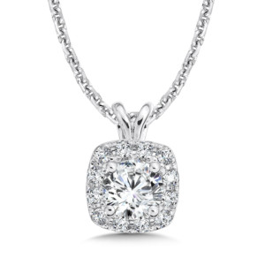 Caro74 Diamond Cushion Halo Pendant with Split Bale in 14K White Gold (1/3ct. tw.) (HCFP432WCTJ)
