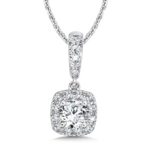Caro74 Diamond Cushion Halo Pendant with Diamond Bale in 14K White Gold (3/4 ct. tw.) (HCFP604WJ)