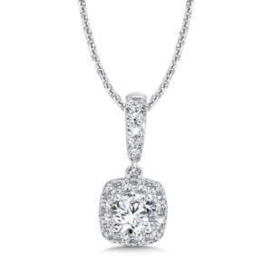 Caro74 Diamond Cushion Halo Pendant with Diamond Bale in 14K White Gold (1/2 ct. tw.) (HCFP605WJ)