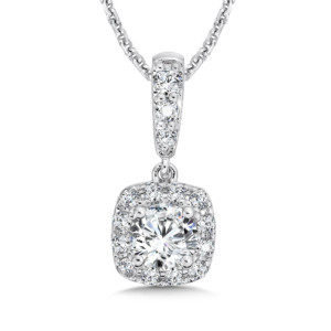 Caro74 Diamond Cushion Halo Pendant with Diamond Bale in 14K White Gold (1/2 ct. tw.) (HCFP605WCTJ)