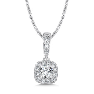Caro74 Diamond Cushion Halo and Diamond Bale Pendant in 14K White Gold (1/4ct. tw.) (HCFP611WJ)