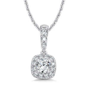 Caro74 Diamond Cushion Halo and Diamond Bale Pendant in 14K White Gold (1/4ct. tw.) (HCFP611WCTJ)