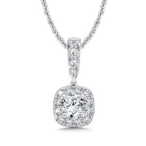 Caro74 Diamond Cushion Halo and Diamond Bale Pendant in 14K White Gold (1/3ct. tw.) (HCFP612WJ)