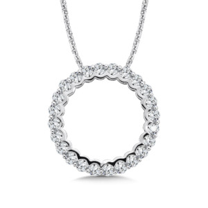 Caro74 Circle Diamond Pendant in 14K White Gold (HCFP650WJ)