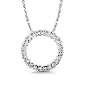 Caro74 Circle Diamond Pendant in 14K White Gold (HCFP651WJ)