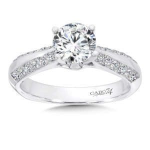 Caro74 Channel and Prong Set Round Diamond Engagement Ring With Side Stones in 14K White Gold with Platinum Head (1ct. tw.) (HCR108WJ)