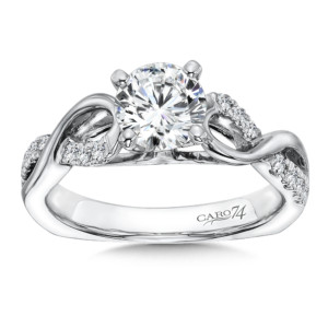 Caro74 Classic Elegance Collection Criss Cross Diamond Engagement Ring in 14K White Gold with Platinum Head (1ct. tw.) (HCR195WJ)