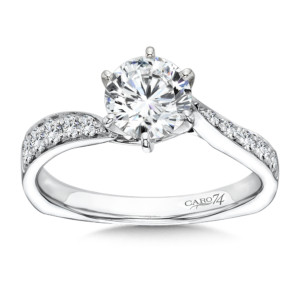 Caro74 Classic Elegance Collection Criss Cross Diamond Engagement Ring in 14K White Gold with Platinum Head (1ct. tw.) (HCR199WJ)