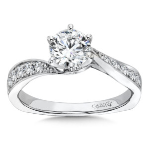 Caro74 Classic Elegance Collection Criss Cross Diamond Engagement Ring in 14K White Gold with Platinum Head (3/4ct. tw.) (HCR307WJ)