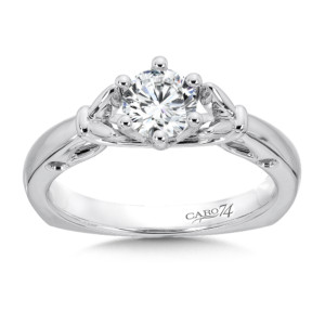 Caro74 6-Prong Center Solitaire Engagement Ring in 14K White Gold (5/8ct. tw.) (HCR400W-.625J)