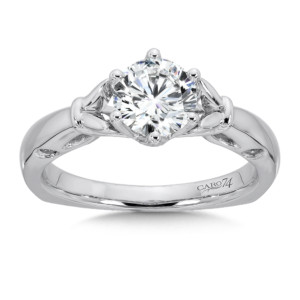 Caro74 6-Prong Center Solitaire Engagement Ring in 14K White Gold (1ct. tw.) (HCR400W-1.00J)