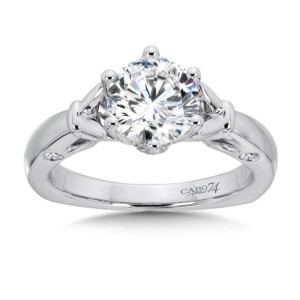Caro74 6-Prong Center Solitaire Engagement Ring in 14K White Gold (1-1/2ct. tw.) (HCR400W-1.50J)