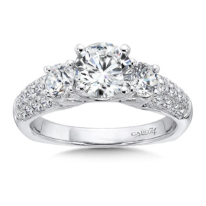 Caro74 3 Stone Engagement Ring with Side Stones in 14K White Gold with Platinum Head (1/2ct. tw.) (HCR500WJ)
