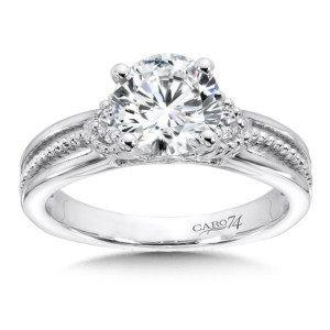 Caro74 3 Stone Engagement Ring in 14K White Gold with Platinum Head (1-1/2ct. tw.) (HCR514WJ)