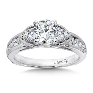 Caro74 3 Stone Engagement Ring in 14K White Gold with Platinum Head (1ct. tw.) (HCR531WJ)