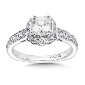 Caro74 Asscher-Cut Halo Engagement Ring in 14K White Gold with Platinum Head (1ct. tw.) (HCR532WJ)