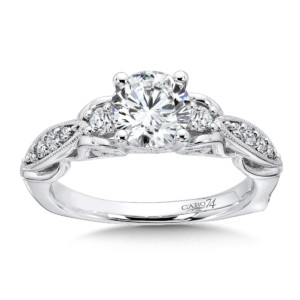 Caro74 3 Stone Engagement Ring in 14K White Gold with Platinum Head (1ct. tw.) (HCR547WJ)