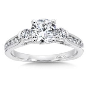 Caro74 3 Stone Engagement Ring in 14K White Gold with Platinum Head (1ct. tw.) (HCR559WJ)