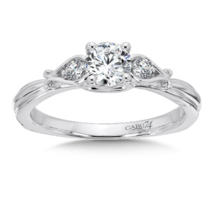 Caro74 3 Stone Engagement Ring in 14K White Gold with Platinum Head (1/2ct. tw.) (HCR563WJ)