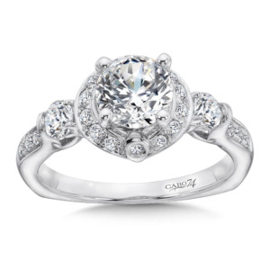 Caro74 3 Stone Engagement Ring in 14K White Gold with Platinum Head (1ct. tw.) (HCR565WJ)