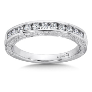 Caro74 Channel-Set Diamond Anniversary Band with Hand Engraving in 14K White Gold (HCRA443BWJ)