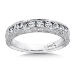Caro74 Channel-Set Diamond Anniversary Band with Hand Engraving and Milgrain detailing in 14K White Gold (HCRA444BWJ)