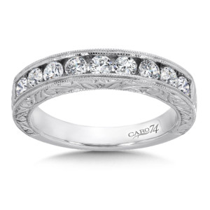 Caro74 Channel-Set Diamond Anniversary Band with Milgrain and Hand Engraved Detailing in 14K White Gold (HCRA445BWJ)