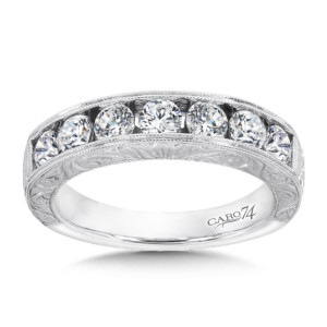 Caro74 Channel-set Diamond Anniversary Band in 14K White Gold with Hand Engraving in 14K White Gold (HCRA446BWJ)