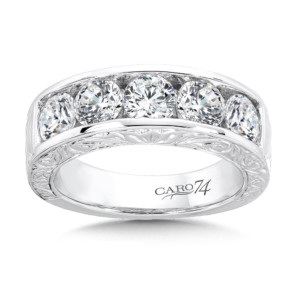 Caro74 Channel-set Diamond Anniversary Band with Hand Engraving in 14K White Gold (HCRA462BWJ)