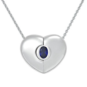 "Petra Azar ""Classics"" Heart Necklace with Blue Sapphire"