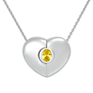 "Petra Azar ""Classics"" Heart Necklace with Yellow Sapphire"