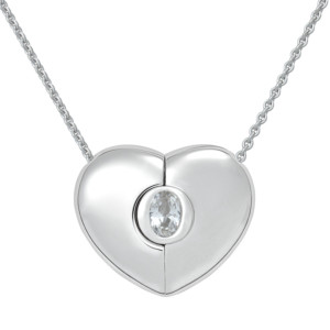 "Petra Azar ""Classics"" Heart Necklace with White Sapphire"