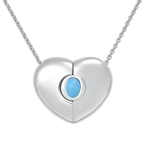 "Petra Azar ""Classics"" Heart Necklace with Turquoise"
