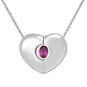 "Petra Azar ""Classics"" Heart Necklace with Ruby"