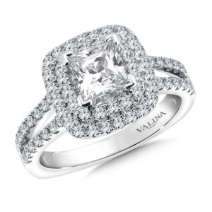 Valina Cushion shape double halo mounting  .61 ct. tw., 1 ct. Princess cut center. (HR9512WJ)